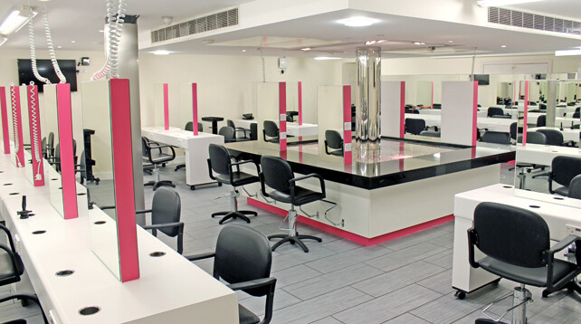 Hairdressing salon interior of Alan d Hairdressing Academy in London