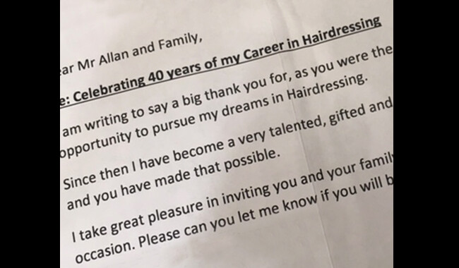 Janet's 40 years of hairdressing letter.