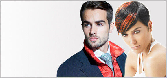 Male and female hair models with short dark brown hair.