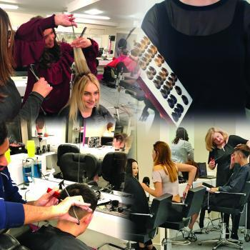 Collage of Alan d students learning practical and theoretical hairdressing.