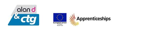 Logos for Alan d & ctg, european union & apprenticeships